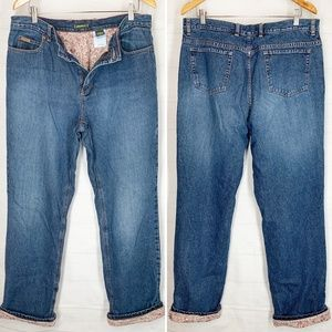 Eddie Bauer Flannel Lined Jeans 16 Tall Womens